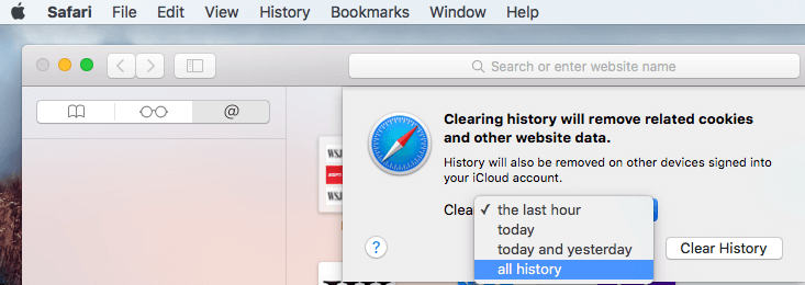 how to clear search history on safari mac
